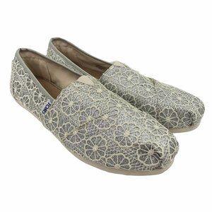 TOMS Alpargata Silver Floral Crochet Shoe 8 NWT